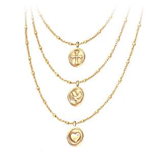 """""""Heartfelt Blessings"""" Faith, Hope And Love Diamond Necklace"""