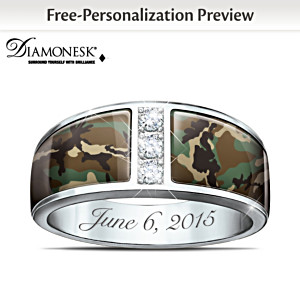 Camo Personalized Diamonesk Men's Wedding Ring