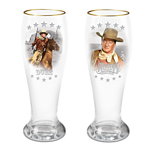John Wayne American Legend Pilsner Glasses With 12K Gold Rim