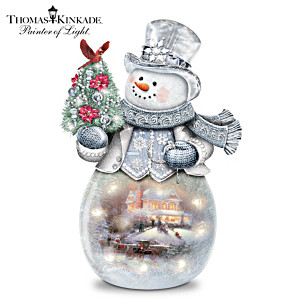 Thomas Kinkade Warm Winter's Glow Illuminated Glass Snowman