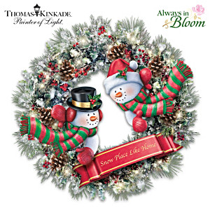 Thomas Kinkade Illuminated Always In Bloom Snowman Wreath