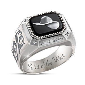 """Spirit Of The West"" Men's Ring With Black Onyx Inlay"