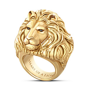 """Heart Of A Lion"" 24K Gold Ion-Plated Men's Sapphire Ring"