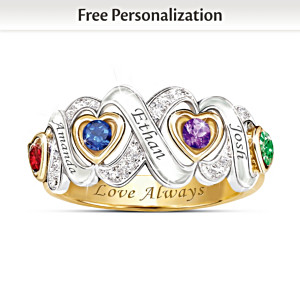 """Always My Family"" Engraved Personalized Birthstone Ring"