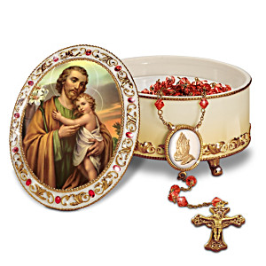 """St. Joseph"" Heirloom Porcelain Music Box With Rosary"