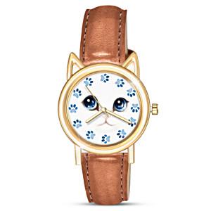 """""""Cat O-Clock"""" Women's Watch With Cat-Eared Bezel"""