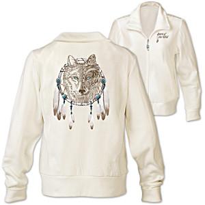 """""""Spirit Of The Wild"""" Designer Wolf Art Women's Knit Jacket"""