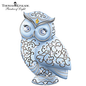 Thomas Kinkade Owl Figurine With Swarovski Crystals