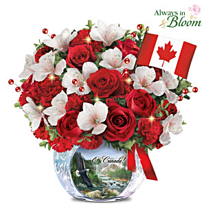 O Canada Illuminated Table Centrepiece With Crystal Vase