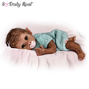 """""""Clementine Needs A Cuddle"""" Baby Monkey Doll By Linda Murray"""