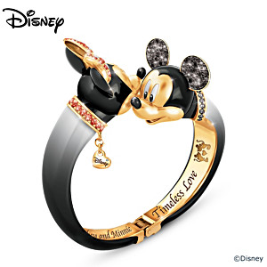 Mickey  Mouse And Minnie Mouse Crystal Bangle Bracelet