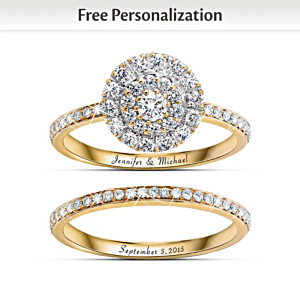 """Golden"" Custom Engraved Diamond Bridal Ring Set"