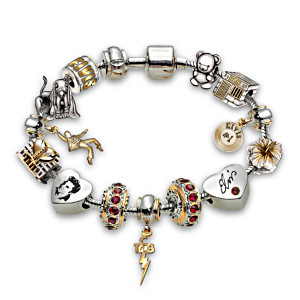"""Legend Of Elvis"" 80th Birthday Tribute Charm Bracelet"