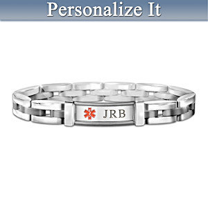 Personalized Medical Alert Stainless Steel Men's Bracelet