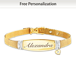 Personalized 7-Diamond Buckle Bracelet For Daughters