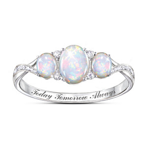 """Light Of Our Love"" Engraved Opal And White Topaz Ring"