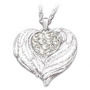 """Wings Of Love"" Engraved Swarovski Locket For Granddaughter"