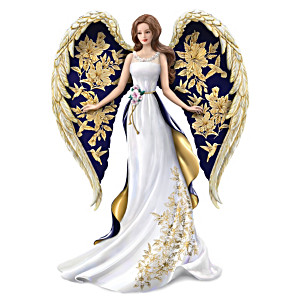 "Lena Liu ""Glorious Praise"" Golden Floral Art Angel Figurine"