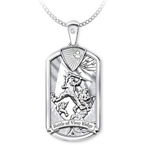 """Battle Of Vimy Ridge"" Centennial Dog Tag Pendant Necklace"