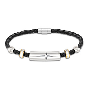 Protection And Strength Daughter Diamond Leather Bracelet