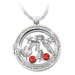 """O Canada"" Charm Locket Necklace With Swarovski Crystals"