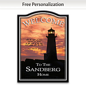 """Light Of Peace Lighthouse"" Personalized Welcome Sign"