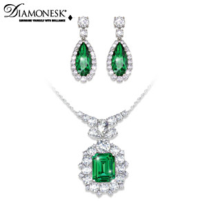 """Hollywood Romance"" Diamonesk Necklace & Earrings Set"