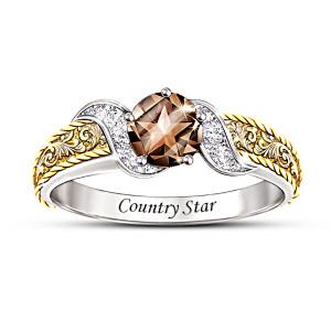 """Country Star"" Smoky Quartz And Diamond Ring"