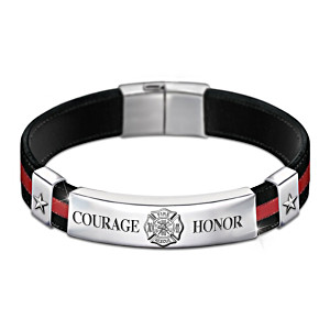 """In The Line Of Duty"" Firefighter Men's Leather Bracelet"