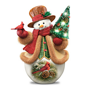 "Rosemary Millette ""December Dawn"" Cardinal Snowman Figurine"