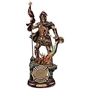 St. Florian Cold-Cast Bronze Firefighter Sculpture
