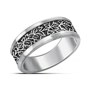 """The Spirit Of Canada"" Stainless Steel Men's Maple Leaf Ring"