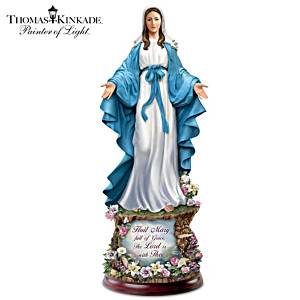 Thomas Kinkade Hail Mary Full Of Grace Illuminated Sculpture