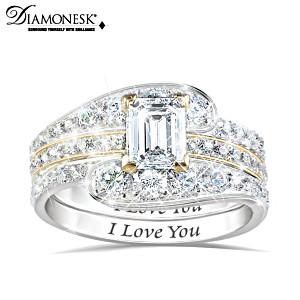 "Engraved ""I Love You"" 3-Band Stackable Diamonesk Ring"