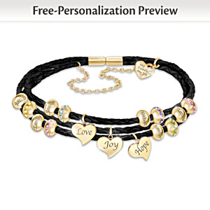 """United By Love"" Name-Engraved Family Birthstone Bracelet"