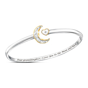 """I Love You To The Moon And Back"" Granddaughter Bracelet"