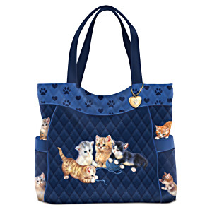 "Jürgen Scholz ""Kitty-Kat Cute"" Quilted Tote Bag"