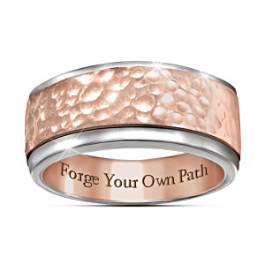"""Forge Your Own Path"" Men's Copper-Plated Spinning Ring"