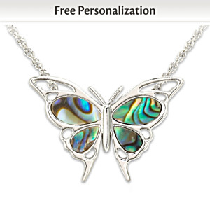 Personalized Abalone Butterfly Necklace For Granddaughters