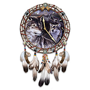 "Al Agnew ""Mystic Call"" Leather Dreamcatcher Wall Clock"