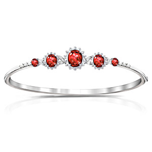 """Canadian Elegance"" Red And White Crystal Bangle Bracelet"