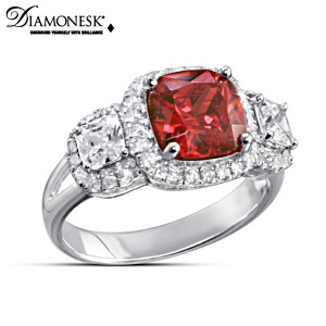 """""""Canadian Brilliance"""" Diamonesk Simulated Ruby Ring"""