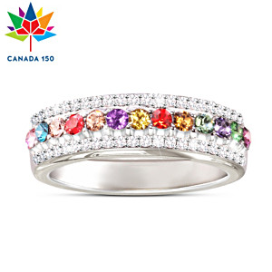 Canada's 150th Anniversary Ring With Swarovski Crystals