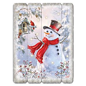 """Bright Smiles And Snowflakes"" Illuminated Wood Wall Decor"