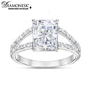 Diamonesk Women's Ring With 7.5 Carat Radiant Centrepiece