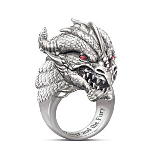 """Power And Fury"" Sculpted Dragon Head Ring With Ruby Eyes"
