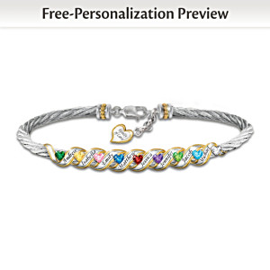 """Family Is Forever"" Personalized Birthstone Bracelet"
