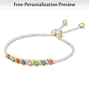"""The Heart Of Our Family"" Personalized Birthstone Bracelet"