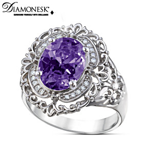 """Sovereign Elegance"" Simulated Amethyst Diamonesk Ring"