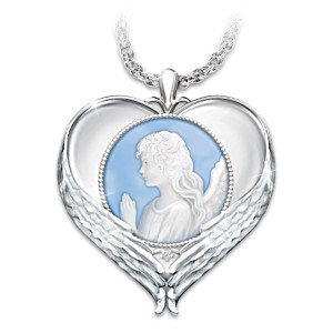 """""""Forever In My Heart"""" Cameo Pendant Necklace With Diamond"""